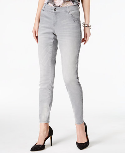 I.N.C. Curvy-Fit Embellished Skinny Jeans, Created for Macy's