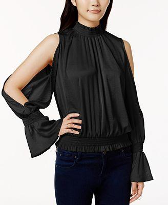 Bar III Split-Sleeve Shirred Top, Created for Macy's