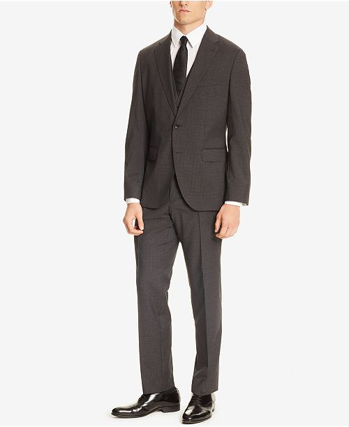 Hugo Boss BOSS Men's Regular/Classic-Fit Micro Check Three-Piece Suit