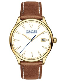 Women's Swiss Heritage Series Calendoplan Cognac Leather Strap Watch 36mm