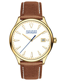 Movado Women's Swiss Heritage Series Calendoplan Cognac Leather Strap Watch 36mm