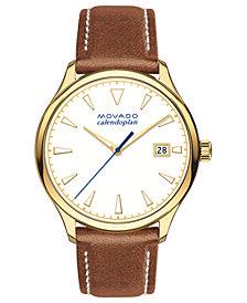 Movado Women's Swiss Heritage Series Calendoplan Cognac Leather Strap Watch 36mm