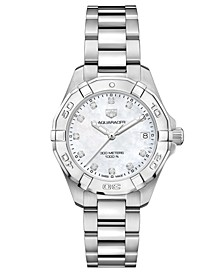 Women's Swiss Aquaracer Diamond (1/10 ct. t.w.) Stainless Steel Bracelet Watch 32mm