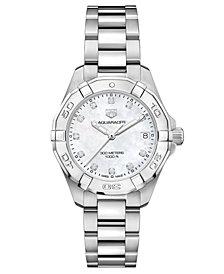 TAG Heuer Women's Swiss Aquaracer Diamond (1/10 ct. t.w.) Stainless Steel Bracelet Watch 32mm