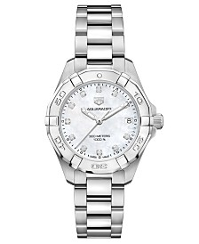TAG Heuer Women's Swiss Aquaracer Diamond (1/10 ct. t.w.) Stainless Steel Bracelet Watch 32mm