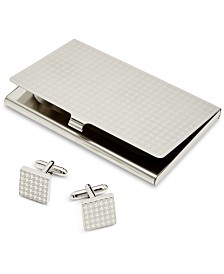 the GIFT Men's Houndstooth Card Case & Cuff Links Set