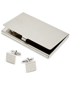 Image of the Gift Men's Houndstooth Card Case & Cuff Links Set