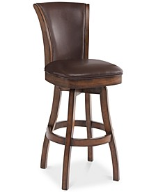 "Raleigh 26"" Counter Height Swivel Wood Barstool in Chestnut Finish and Kahlua Faux Leather"