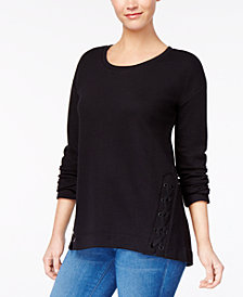 Style & Co Scoop-Neck Lace-Up Knit Top, Created for Macy's