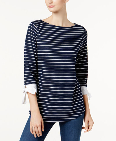 Charter Club Petite Striped Top, Created for Macy's