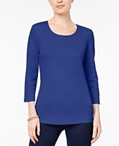 76eb9fb630620 Karen Scott Petite Cotton Scoop-Neck 3/4-Sleeve Top, Created for