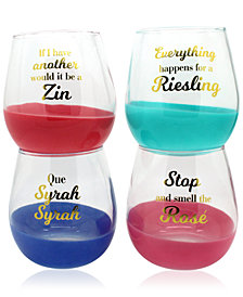 CLOSEOUT! TMD Holdings 4-Pc. Wine Lovers Stemless Wine Glasses Set