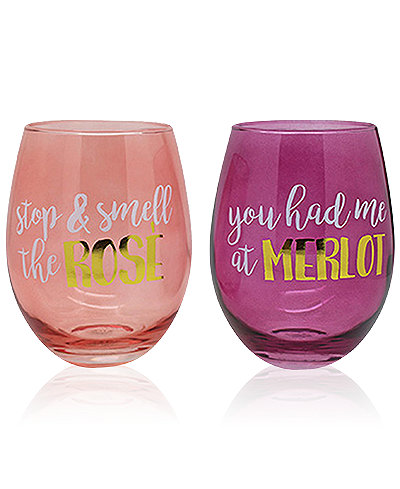 Tmd Holdings 2 Pc Rose Amp Merlot Stemless Wine Glasses Set