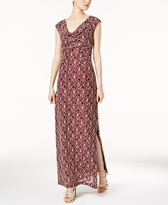 Connected Draped-Neck Sequined Contrast-Lace Gown