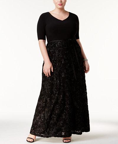 Alex Evenings Plus Size Rosette A-Line Gown