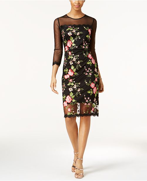 outlet boutique closer at 50% off JAX Floral-Embroidered Mesh Dress & Reviews - Dresses ...