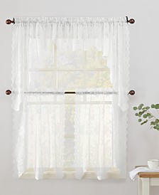 Lichtenberg No. 918 Alison Floral Lace Rod-Pocket Kitchen Curtain Pairs & Valances