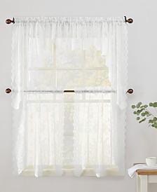 Lichtenberg No. 918 Alison Floral Lace Rod-Pocket Kitchen Curtain Pairs & Valances