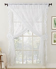 No. 918 Alison Priscilla 5-Pc. Ruffled Floral Lace Rod-Pocket Window Treatment Sets