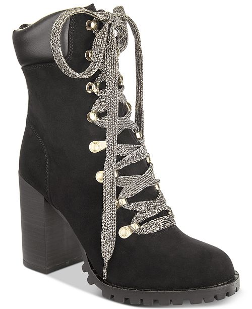 Material Girl Hazil Lace-Up Booties, Created for Macy's