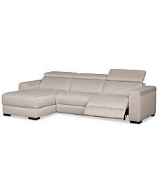 Nevio 3-Pc. Fabric Sectional Sofa with Chaise, 1 Power Recliner and Articulating Headrests, Created for Macy's