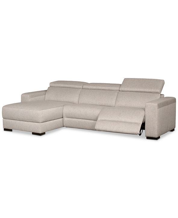 Furniture Nevio 3-Pc. Fabric Sectional Sofa with Chaise, 1 Power Recliner and Articulating Headrests, Created for Macy's