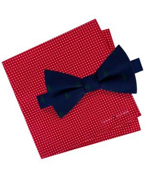 Tommy Hilfiger Men's Conversational Tree Pre-Tied Silk Bow Tie & Dot Silk Pocket Square Set thumbnail