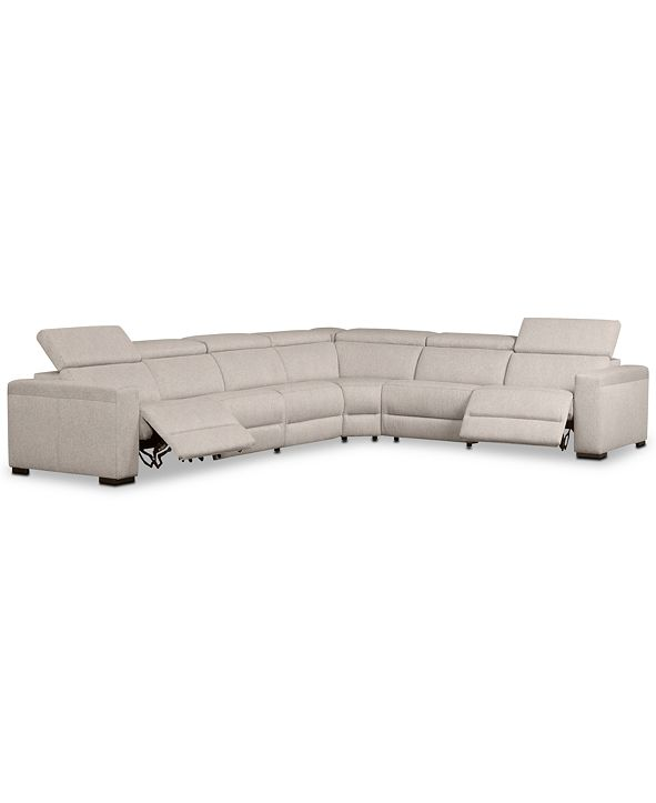 "Furniture Nevio 6-Pc. Fabric ""L"" Shaped Sectional Sofa with 2 Power Recliners and Articulating Headrests, Created for Macy's"