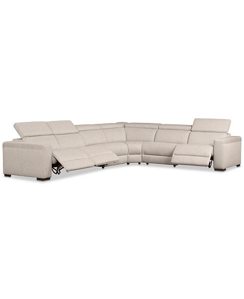 Furniture Nevio 6 Pc Fabric Quot L Quot Shaped Sectional Sofa