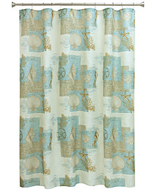 "Bacova Coastal Moonlight 70"" x 72"" Graphic-Print Shower Curtain"