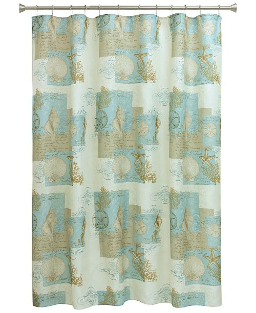 Bacova Coastal Moonlight 70 X 72 Graphic Print Shower Curtain
