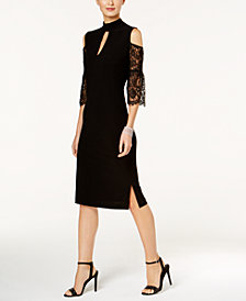 Love Scarlett Petite Cold-Shoulder Lace-Sleeve Dress, Created for Macy's