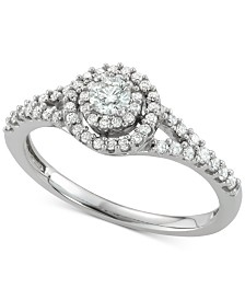 Diamond Halo Cluster (1/2 ct. t.w.) in 14k White Gold