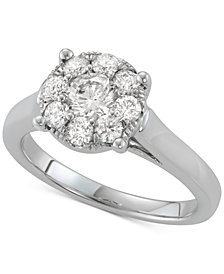 Diamond Floral Cluster Ring (1 ct. t.w.)in 14k White Gold