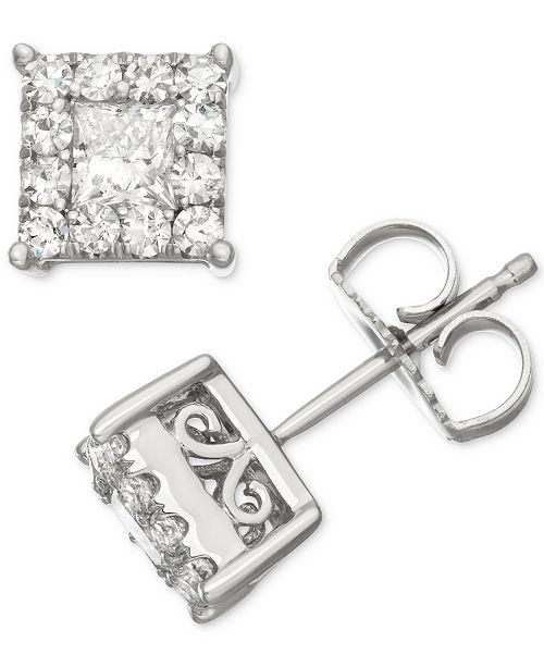 Boucles blanc bijoux Ct Halo1 Twen carre Montres or diamant d'oreilles 14kmontres WHID9eE2Y