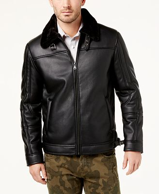 I.N.C. Men's Faux Leather Bomber Jacket, Created for Macy's ...