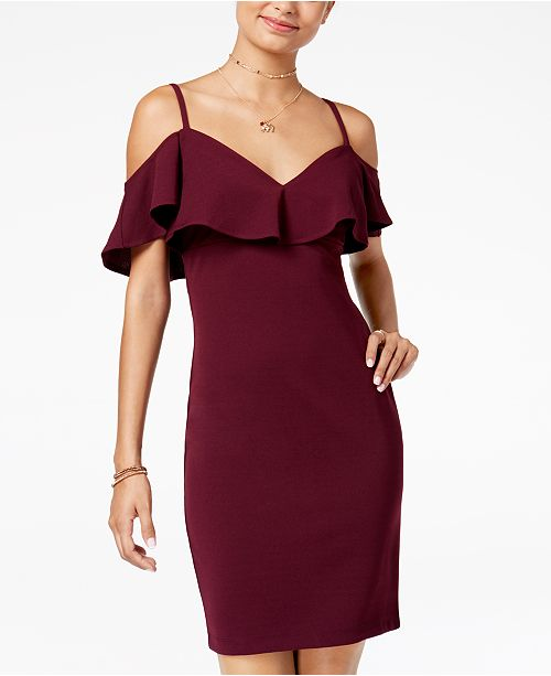 Plum Dress Emerald Shoulder Cold Bodycon Juniors' Sundae xwqBXq0Y