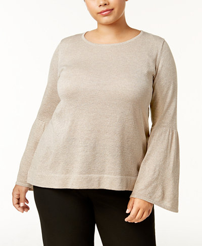 Calvin Klein Plus Size Bell-Sleeve Sweater