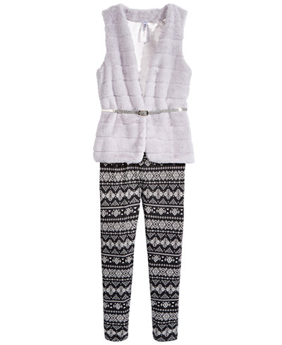 Beautees 2-Pc. Faux-Fur Vest, & Leggings Set, Big Girls