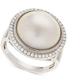 Cultured Mabé Pearl (14mm) & White Topaz (1/8 ct. t.w.) Ring in Sterling Silver
