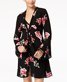American Rag Juniors' Printed Neck-Tie Button-Front Dress, Created for Macy's