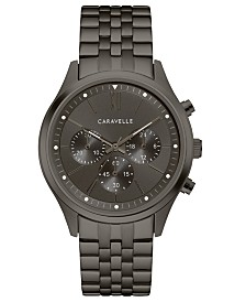 Caravelle Designed by Bulova  Men's Chronograph Gunmetal Stainless Steel Bracelet Watch 41mm