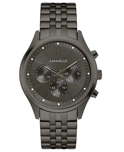 Caravelle Men's Chronograph Gunmetal Stainless Steel Bracelet Watch 41mm