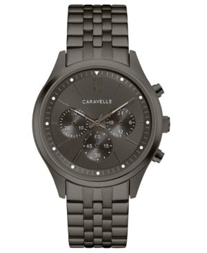 Designed by Bulova Men's Chronograph Gunmetal Stainless Steel Bracelet Watch 41mm