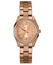 Caravelle Women's Rose Gold-Tone Stainless Steel Bracelet Watch 28mm