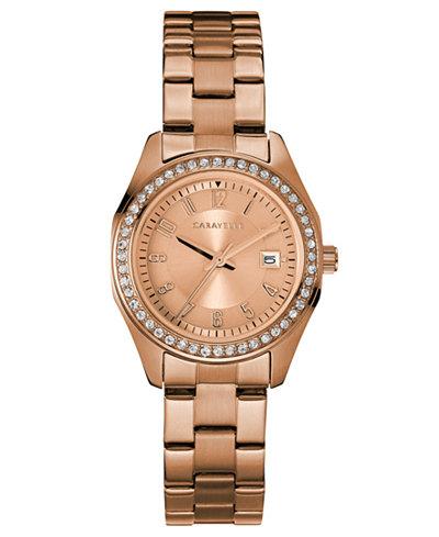 Caravelle Women's Rose Gold-Tone Stainless Steel Bracelet Watch 28mm