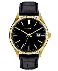 Caravelle Men's Black Leather Strap Watch 41mm