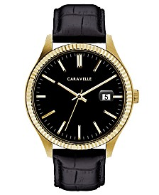 Caravelle Designed by Bulova  Men's Black Leather Strap Watch 41mm