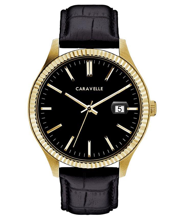 Caravelle - Men's Black Leather Strap Watch 41mm