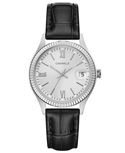 Caravelle Women's Black Leather Strap Watch 32mm